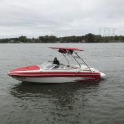 Big Air Cuda Tower and Super Shadow Bimini - 2011 Glastron GT205 - Polished Aluminum - wakeboard tower (1)