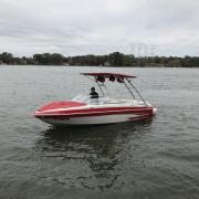 Big Air Cuda Tower and Super Shadow Bimini - 2011 Glastron GT205 - Polished Aluminum - wakeboard tower (2)