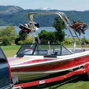 Big Air Cuda waketower - 1989 Ski Sanger DX - Polished Aluminum - wakeboard tower