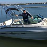 Big Air Cuda tower - 2014 Sea Ray 240 Sundeck - Polished Aluminum - wakeboard tower