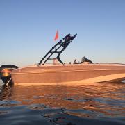 Big Air Cuda Tower - 2002 Tahoe 202 deckboat - Black Alunimum - Wakeboard tower  (3)
