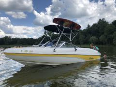 Big Air H2O tower with Big Air Collapsible Bimini - 2003 Rinker 180 BR - Stainless Steel - Wakeboard tower