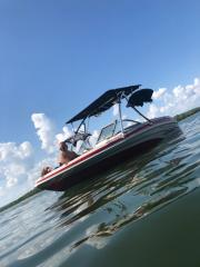 Big Air Ice tower with Super Shadow Bimini - 2006 Tahoe Q4 SF - Polished Aluminum - wakeboard tower