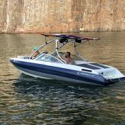 Big Air Ice Tower with Big Air Ole Glory Super Shadow Bimini - Caravelle Boat - Polished Aluminum - wakeboard tower (2)